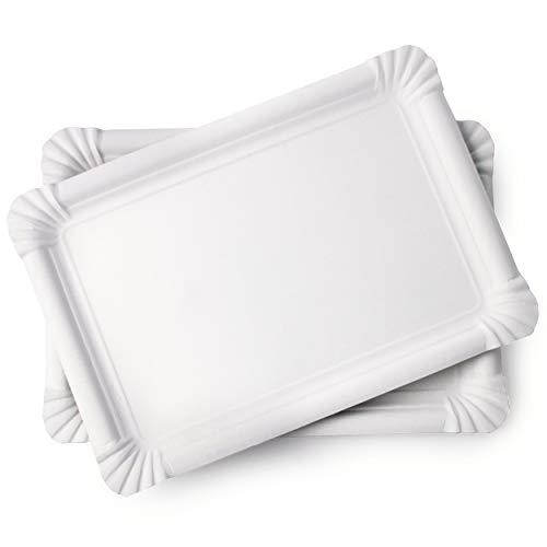 Extiff Lot de 20 Plateaux en Carton Blanc - Plateaux de présentation pour pâtisseries ou Buffet Froid (30 x 21 cm)