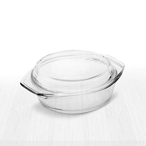 Simax Clear Round Glass Casserole Dish | With Lid, Heat, Cold and Shock Proof, Made in Europe, Small 1 Quart Baking Dish