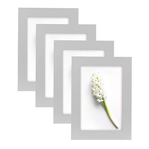 Home&Me 100% Echtholz Bilderrahmen Grau 10x15cm 4er Set Fotorahmen mit Echtglas zum aufhängen und aufstellen