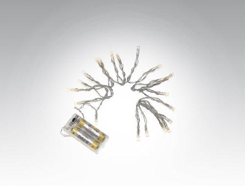 10er LED-Mini-Lichterkette, batteriebetrieben mit Schalter, leuchtet in einem warmen Weiss
