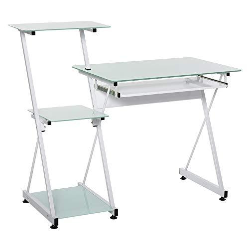 HOMCOM Scrivania Porta PC con Mensole e Piano Estraibile per Tastiera, Arredamento Ufficio, Casa, Studio