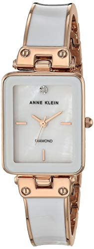 Anne Klein Reloj de pulsera con esfera de diamante genuina p