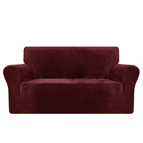MAXIJIN Thick Velvet Sofa Covers 2 Seater Super Stretch Non Slip Loveseat Covers for Living Room Dogs Cat Pet Plush Love Seat Couch Slipcovers Elastic Furniture Protector (2 Seater, Wine Red)