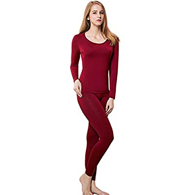 HEROBIKER Thermal Underwear Women Ultra-Soft Set Long Johns Top & Bottom Base Layer with Fleece Lined ?M, Red