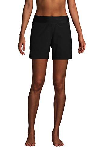Lands' End Womens Comfort Waist 5in Swim Short Panty Black Plus 16w