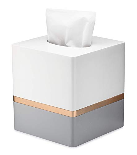Essentra Home Day and Night Collection Square Tissue Box, White and Grey with Gold Stripe