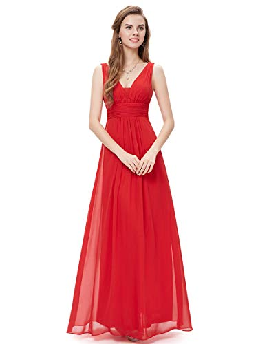 Ever-Pretty Abito da Ballo Donna Linea ad A Scollo a V Chiffon Stile Impero Lungo Rosso 40