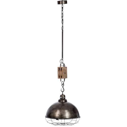 suspension industriel à poulie en bois gris et métal vieilli 44X42X160CM J-Line