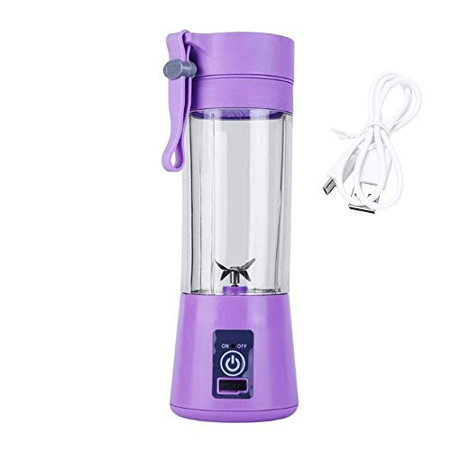 Tragbare Entsafter Cup Mixer, Entsafter Maschine Mini Juice Mixer Smoothie Mixer, Zitruspresse Squeezer für Orange Lemon Grapefruit, wiederaufladbare USB-Blender,Lila