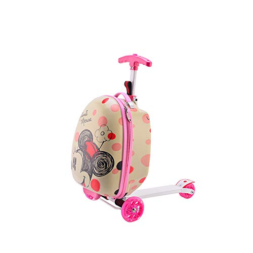 Beautiful and convenient Creative scooter trolley case children 16 inch suitcase multi-function custom trolley case student bag Easy to walk (Color : Minnie, Size : 16 inch)