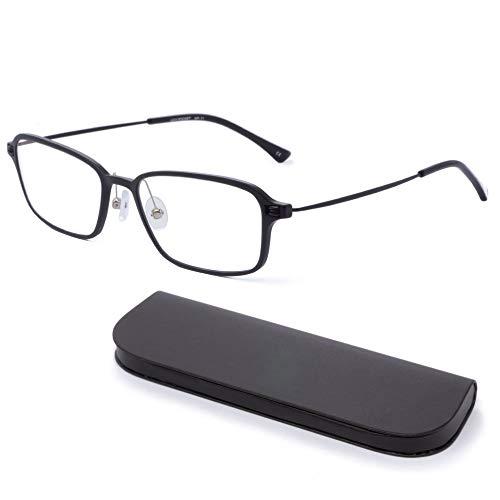 MIDI-ミディ おしゃれ 老眼鏡 MIDIポケット 14mmの極薄メガネケースに収納 ブルーライトカット 紫外線カット メンズ 軽量 マットブラック (MP-11,C1,+0.75