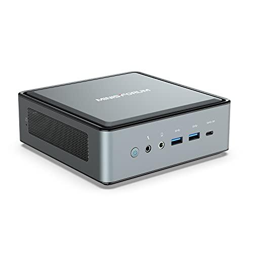 Mini PC AMD Ryzen 5 4500U Windows 10 Pro Desktop Computer, DDR4 16G RAM+512G SSD, HDMI/DP/USB-C 4K@60Hz Output, 2X RJ45 Port(1000/2500Mbps), 6X USB Port, WIFI6 AX200, AMD Radeon Graphics, 2X HDD Slot