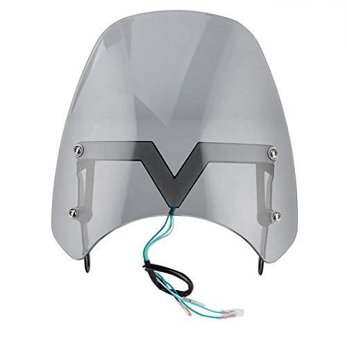 Parabrisas de motocicleta, apto para deflector de viento de motocicleta, parabrisas delantero con luces en V, señales de giro LED(Gris ahumado)