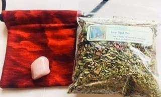 Ravenz Roost Charm Bag kit ~ Love Spell Mix ~ One Rose Quartz ~ Handmade Charm Bag