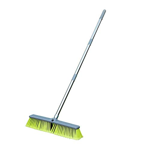 """PHYEX 18"""" Push Broom with Adjustable Long Handle, Multi-Surface Floor Scrub Brush for Cleaning Deck, Patio, Garage, Driveway"""