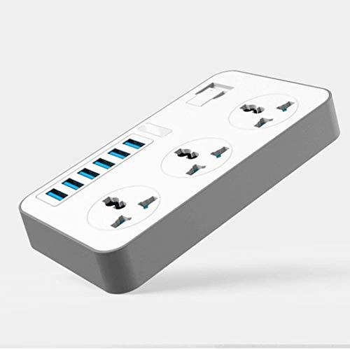 JUNPE Regletas Enchufes USB Carga Rápida Smart Power Base Múltiple 6 USB 3000w Puerto 3 Universal Toma De Corriente CA De Sockets Enchufe Grande Extensión Tarjeta De Corrección