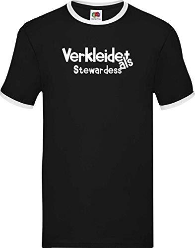 Shirtinstyle Luchador Camiseta Carnaval Verkleidet como Aeromoza Disfraz De Carnaval Revestimiento, S-XXL - Negro Blanco, XXL