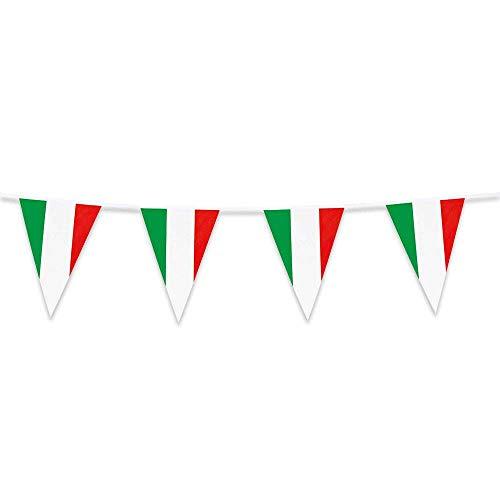 Boland 62102 Wimpelkette Italien, 1 Stück, Nationalflagge, Trikolore, Fußball, Weltmeisterschaft, Europameisterschaft, Fahnenkette, Kuntstoffgirlande, Hängedekoration, Mottoparty, 10 Meter