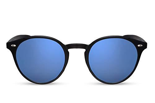 Cheapass Gafas de Sol Negro Azul Redondas Espejados UV-400 Festival Mujer Hombre