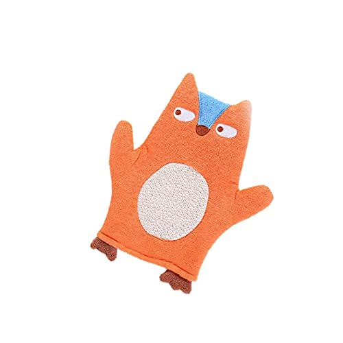 Liadance Baby Bath Guante Felpa Toalla de baño mitón de la Colada de la Forma del niño del Animal Naranja de Dibujos Animados