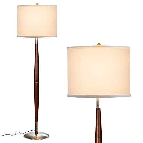 Brightech Lucas - Mid Century Modern Floor Lamp for Bedroom Reading - Brighten Living Room Corners with A Free Standing Light - Tall Office Lighting with Drum Shade & Handsome Wood Finish