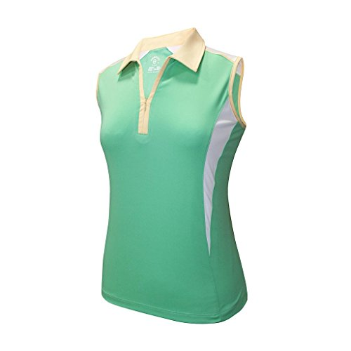 Monterey Club Ladies Dry Swing Double Colorblock Zip-up Sleeveless Shirt #2271