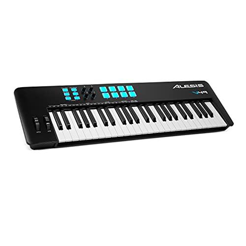 Alesis V49 MKII – USB MIDI Keyboard Controller mit 49 anschlagsdynamischen Tasten, 8 Full Level Pads, Arpeggiator, Pitch/Mod-Rad, Note Repeat und Softwarepaket