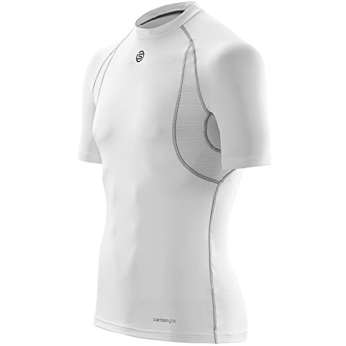 SKINS Carbonyte Functional Maillot Manches Courtes Homme, Blanc, FR : M (Taille Fabricant : M)