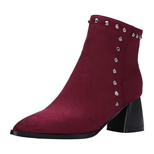 BIGTREE Botines para Mujer, Botas Estilo calcetín en Gamuza Suave con Tachuelas, Tacones de Bloques, Botas de Nieve otoño Invierno con Forro de Piel Negro Rojo (Ropa)