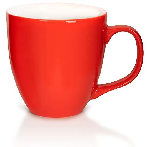 Mahlwerck Taza grande de café de porcelana con superficie brillante, 450 ml, color rojo