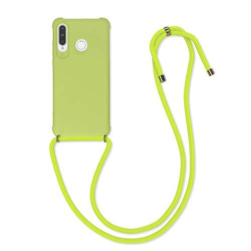 kwmobile Hülle kompatibel mit Huawei P30 Lite - mit Kordel zum Umhängen - Silikon Handy Schutzhülle Hellgrün