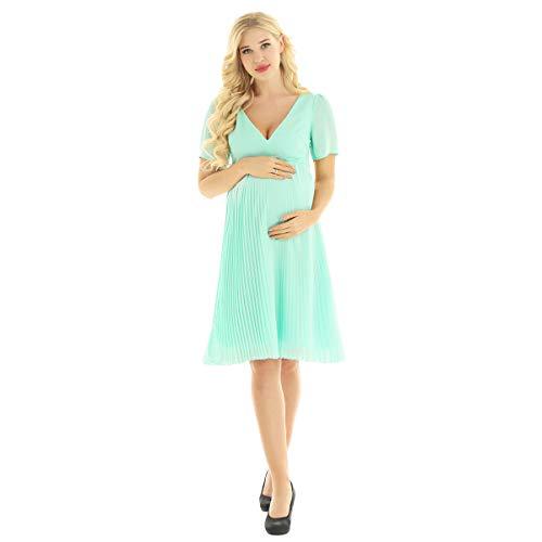 inhzoy Damen Umstandskleid Maternity Schwangerschaftskleid Festlich Fotografie Hochzeit Chiffon-Kleider Kurzarm Sommer Stillkleid Knielang Hellgrün 38