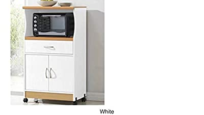 Microwave Cart Stand - White Finish - One Shelf for the Microwave and Another Shelf Above Plus a Drawer and Cabinet Below from Hoodedah