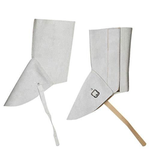 VILLCASE Cubierta de zapatos de soldadura, cubierta de cuero para zapatos de soldadura, resistente al calor, protector de zapatos de soldadura, equipo de protección de seguridad (blanco roto).