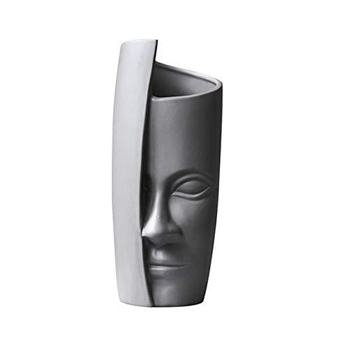 Vaso da fiori in ceramica con volto umano, vaso da fiori artificiale, per interni ed esterni, decorazione per mamma e moglie, amici (grigio)