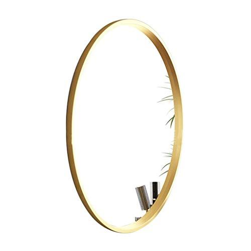 Espejo de maquillaje elíptico para colgar en la pared, espejo de tocador HD moderno, ovalado para colgar en la pared, marco dorado, espejo de cristal auténtico para cuarto de baño, salón, pasillo