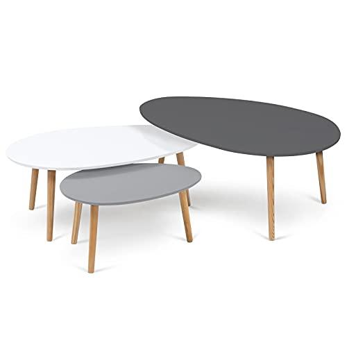 IDMarket - Lot de 3 Tables Basses gigognes Gigi laquées Gris foncé/Blanc/Gris Clair