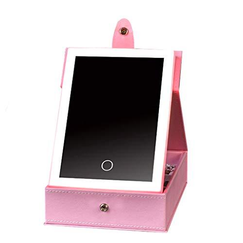 Miroir de maquillage LHY à LED avec Miroir de courtoisie léger à LED Pratique pour Le Bureau La Mode (Color : Pink, Size : Small)