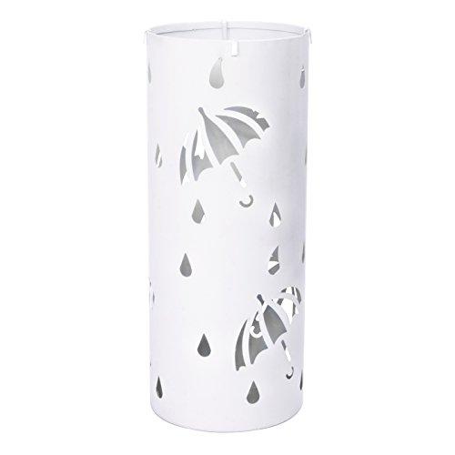 Woltu Schirmständer Regenschirmständer Schirmhalter für Gehstöcke Mit Wasserauffangschale Haken Ø20 x H49 cm Weiß SST01ws