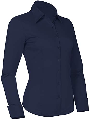 Pier 17 Button Down Shirts for Women, Fitted Long Sleeve Tailored Work Office Blouse (3XL Plus Size, Navy)