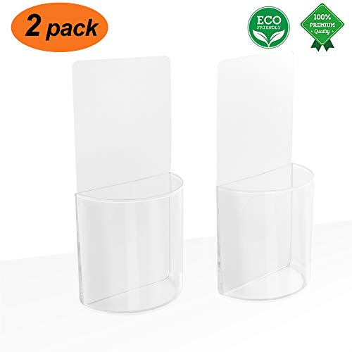 ZC GEL Remote Control Holder Wall Mount Damage-Free Clear Media Organizer Storage Box,Table and Nightstand Convenient Remote Caddy (2 Pack)