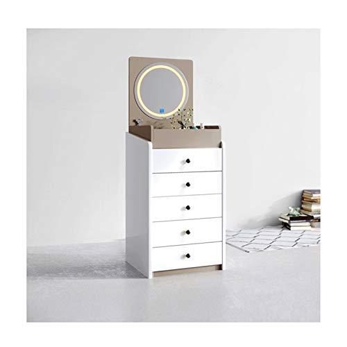 RKRXDH Mesa Tocador Multifuncional Única De Almacenamiento Tirón Tabla De Maquillaje For El Dormitorio Tocador Escritorio Tocador (Color : White+Champagne Lamp)