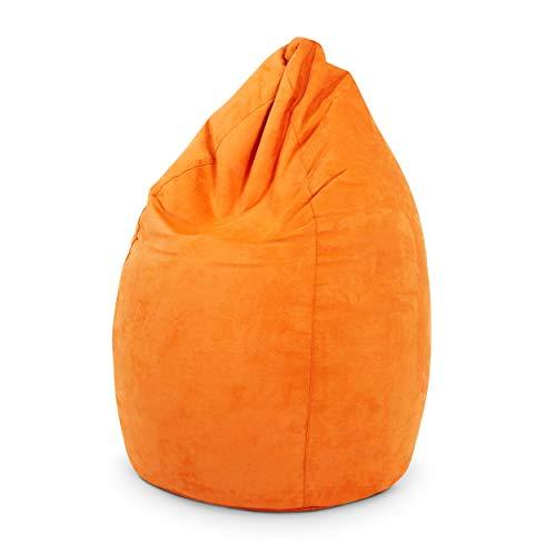 Green Bean © Drop Sitzsack 60x60x90 cm - 220L - Indoor - Sitzhöhe 50 cm, Rückenlehne 40 cm - waschbar, schmutzabweisend, abwischbar - Sitzkissen Bean Bag Gaming Sessel - Wildleder Optik - Orange