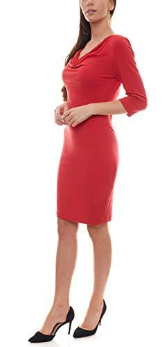 Laura Scott Jersey-Kleid Elegantes Damen Mini-Kleid mit Wasserfall-Ausschnitt Freizeit-Kleid Cocktail-Kleid Rot, Größe:40