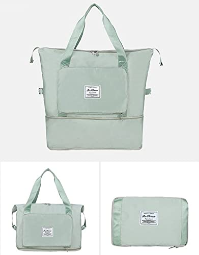 WEFR Large Capacity Folding Travel Bag, Oxford Cloth Waterproof Carry on Luggage Shoulder Bag Fixed Strap Dry and Wet Separation Sports Portable (Light Green)