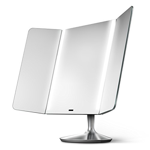 simplehuman Sensor Mirror Pro Wide View, Lighted Vanity Mirror, 1x Magnification, Adjustable Color...
