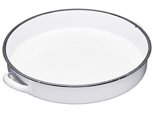 Living Nostalgia LNENTRAY Enamel Round Tray, 36 cm-White/Grey, Émail, Blanc/Gris, 28 x 28 x 18 cm
