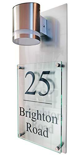 Moderne Plaque de Maison Plaque Numéro de Rue en Verre Effet Aluminium XL A4, Lampe Solaire