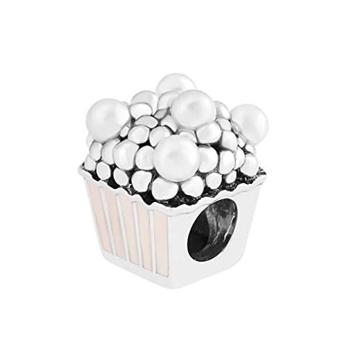 LIIHVYI Pandora Charms para Mujeres Cuentas Plata De Ley 925 Joyas Deliciosas Palomitas De Maíz Joyas De La Marca Rosa Pálido Compatible con Pulseras Europeos Collars