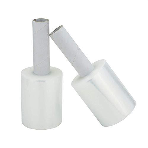 Mini Stretchfolie Wickelfolie Packfolie mit Begriff 10cm x 125m | 0.25KG | 2er Pack | Transparent